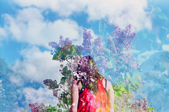(Jeannette Rose) Tags: flowers sky film girl clouds spring doubleexposure lilacs filmphotography