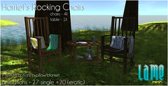 .lame - Harriet's Rockers @ Zodiac! (Divine Falodir (.lame furniture)) Tags: life wood wooden chair mesh furniture gorgeous awesome special divine pillow event blanket second animated zodiac lame rocking fabulous glamorous falodir