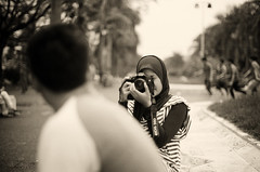 photographer (4dynur4) Tags: blackandwhite bw analog indonesia hijab pentaxk1000 bandung flickrandroidapp:filter=none