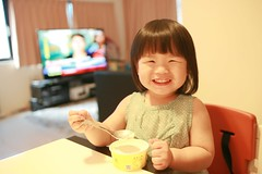 Zorie is so happy eating her ice cream. (Zorie Huang) Tags: morning light portrait baby cute home girl smile canon naughty asian happy kid infant child eating innocent taiwan eat icecream lovely taiwanese oneyearold zorie eaticecream