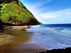 Hanakapiai Summer (lunkerbuster808) Tags: ocean blue sea summer mountains green beach water hawaii pacific hiking north cliffs northshore kauai napali valleys iphone hanakapiai kalaluatrail uploaded:by=flickrmobile flickriosapp:filter=nofilter