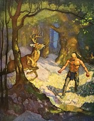 """Uncas Slays a Deer"" by N. C. Wyeth from ""The Last of the Mohicans"" by James Fenimore Cooper. NY: Scribner's, 1919. First edition (lhboudreau) Tags: book books hardcover hardcovers hardcoverbook hardcoverbooks vintagebook vintagebooks classicbook classicbooks classicnovel classicstory art artist illustrator illustrated illustration illustrations drawing drawings illustratedbook illustratedbooks illustratedclassics bookart wyeth ncwyeth 1919 illustratedclassic vintageillustration vintageillustrations classicillustrator classicillustrations vintagebookillustrations vintagebookillustration lastofthemohicans mohicans thelastofthemohicans cooper jamesfenimorecooper fenimore uncas frenchandindianwar 1757 nattybumppo hawkeye chingachgook americanindian americanindians nativeamerican nativeamericans indians indian charlesscribnerssons scribners charlesscribners firstedition fiction deer deerslaying deerslayer deers stag horns"