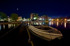 Moored For The Night:  Neenah, Wisconsin (J Henry G) Tags: nightphotography moon wisconsin night docks boats citylights neenah 28lens johnhenrygremmer rokinon14mm