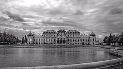 Belvedere Palace / Vienna (Erich Hochstger) Tags: belvedere schloss palace wien vienna bewlkt cloudy wolken clouds teich pond see lake wasser water hdr sw bw canoneos70d sigma18300mm
