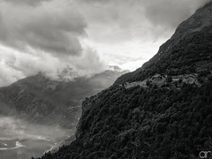 On Different Levels (A.Reef (still slow)) Tags: monochrome geirangerfjord norway levels mountains fjord farmstead
