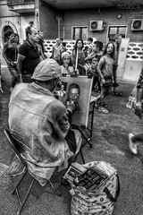 Street artist (antonino.nolasco) Tags: disegno paint vacanze canon biancoenero strada artista streetartist street artist holidays summer sicily bw blackwhite