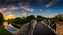A Bridge too far (derekgordon1) Tags: nikond7100 sigma1020 bridge structure canal landscape outdoors outside hawkesburyjunction suttonstop water waterscape westmidlands coventry oxfordcanal sunrise sun colour bluesky bluehour blue yellow longford exhall hdr lightroom blended saturation