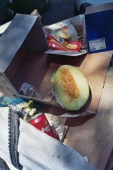 trash (A l e _ J a n d r a) Tags: melon analog kodak olympus mju ii calle street bodegn sheet trash arte es basura art colors film pelicula fruta fruit beer