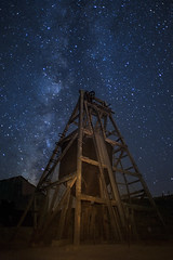 Headworks (magnetic_red) Tags: mine mining wood derrick headworks night nightscape milkyway stars longexposure americanwest ghosttown nevada