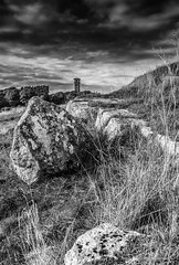 cleadon water tower mono (robinta) Tags: mono monochrome tower historic rock stone grass landscape pentax ks1 sigma18200mmhsmc cleadon clouds sky contrast