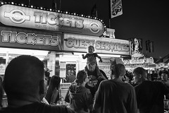 State Fair Midway at Night - 1/10 (mfhiatt) Tags: blackandwhite street streetphotography candid fair iowastatefair midway night highiso img80960816jpg 100xthe2016edition 100x2016 image61100 tickets