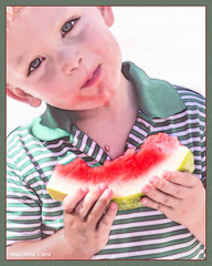 A Sunny Day Chin Drip! (jackalope22) Tags: boy watermelon chin drip seed farmers market july hot sunny