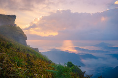 Sunrise scene with the peak of mountain and cloudscape (MongkolChuewong) Tags: phu chi fa sunlight fog thailand clound north travel view sunny mountainside chee top sun ridge rai climb wintermist sunset chiang tourism extreme sea vacation aurora fah hill hiking chiangrai cloud climbing sunrise rock trekking morning slope high blue early mountain sky dawn beautiful phuchifa nature environment landscape backgroud abstract
