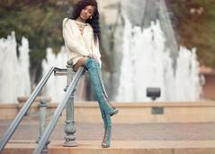 sitting pretty (c lamorn) Tags: thigh boots heels fashion style people senior portraits natural light female ebony model hair lips legs stylish street editorial lifestyle glamour steps waterfall clamorn sitting canon 85mm 12 landscape