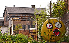 Toxic (Vide Cor Meum Images) Tags: mac010665yahoocouk markcoleman markandrewcoleman videcormeumimages vide cor meum nikon d750 industrial industry derelict abandoned victorian red brick toxic cylinder face digbeth birmingham uk england canals paths graffiti