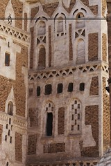 IMG_7698 (mariatarasoff) Tags: yemen sanaa architecture adobe brick ancient old decorative unheritagesite un streets facade mud red white primitive arab arabia arabian countryside landscapes relief brown window arch archway stone traditional sky blue patterns clouds yemeni