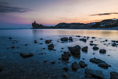 Cala del Charco (I) (jorge.alonsodejuan) Tags: light sunset sea sky cliff cloud seascape tower water rock last landscape nikon long exposure angle wide alicante cala d800 charco
