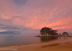 Little Kaiteriteri Sunset (New Zealand, South Island) (Robin Black Photography) Tags: longexposure pink sunset newzealand seascape color beach clouds landscape little ngc peaceful calm southisland serene tasmansea kaiteriteri naturesbest nationalgeographic seastack goldensand watermotion outdoorphotographer canon5dmarkii robinblackphotography abseltasman