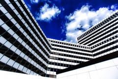 black, white & blue two (Blende57) Tags: blue windows white black clouds facade germany essen fenster angles wolken officebuilding brogebude symmetry winkel blau schwarz fassade symmetrie canon1740mmf4l weis canon5dmarkii