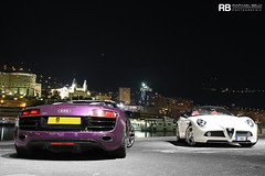 Harbour Nights (Raphal Belly) Tags: white paris car de french photography eos hotel spider photo shoot riviera photographie purple photoshoot 10 c violet 8 wrapped wrap casino spyder montecarlo monaco mc belly exotic v midnight 7d passion alfa romeo shooting bianca custom audi blanche raphael bianco blanc rb cylinders supercar spotting v10 customs supercars r8 raphal sance 8c principality shmee violette kik romo competizione shmee150 shmeemobile