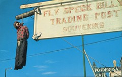 Hanging Of Fly Speck Billy, Trading Post, Custer SD (SwellMap) Tags: vintage advertising death pc 60s dummies fifties postcard kitsch retro nostalgia crime chrome western murder violence amusementpark hanging americana deathvalley 50s tacky roadside dummy themepark sixties frontier midcentury lynching oldwest frontiertown effigies waxmueum