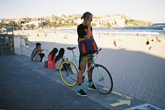 Colourful bike, Bondi Beach. on film (elpolodiablo) Tags: sun film beach bondi bike fuji pentax colourful limited fa 43 c200 fujicolor f19 sfxn
