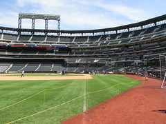Citi Field, 05/16/13: on-field look directly down the left field foul line (IMG_0869) (Gary Dunaier) Tags: newyorkcity baseball stadiums queens mets queensborough newyorkmets queensboro ballparks flushing stadia queenscounty citifield