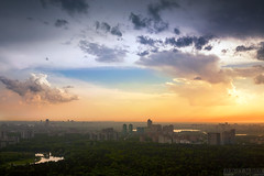 Before Thunderstorm (Sergey Alimov) Tags: city roof sunset sky urban sun storm rooftop nature sunshine skyline clouds skyscraper forest landscape spring apartment russia moscow sunny