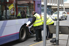 Oops - First Manchester 37402 MX58DXO digs up curb (Will Swain) Tags: uk england bus buses up manchester coach october 1st britain central first oops greater curb coache