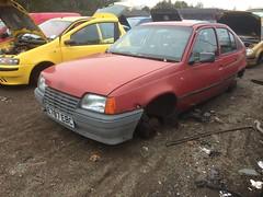Astra (Sam Tait) Tags: door old red car metal yard junk 5 retro mk2 scrap derby astra vauxhall mk3