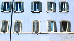Blue house (Cristian Mauriello) Tags: roma rome italia italy windows color blue house art palazzo finestre palace blinds persiane glass pattern piazza pantheon place