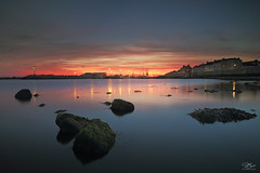 Headland glow (Steve Clasper) Tags: headland hartlepool northern north uk rocks cranes steveclasper northeast longexposure