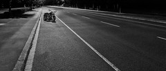 (mexou) Tags: road night bluehour lantern bw motorcycle harleydavidson longexposure luxembourg