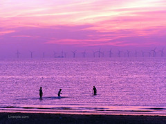 New Brighton Sunset (liverpix) Tags: red spectacular sunset sky windfarm windpower swimmers windturbines sea power wind weather