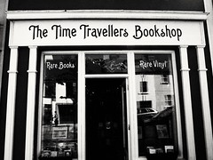 The Time Traveller's Bookshop (lgebelin) Tags: thetimetravellersbookshop timetravel bookshop bookstore books book shop store ireland westport mayo bw blackandwhite city vintage old urban picturesque pretty shopwindow recordstore