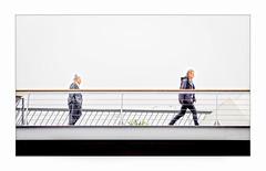 Crossing the bridge (jen 3163) Tags: melbourne bridge pedestrianbridge walking rain
