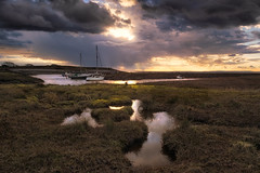 Moody Clouds (~g@ry~ (clevedon-clarks)) Tags: hitechfilters landscape northsomerset reflections uk boats calm clevedon clevedonpill clouds coast coastal foreground milkywater moodyclouds rays seascape severn somerset sunset