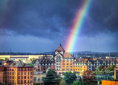 Hotel Roanoke Autumn Rainbow (Terry Aldhizer) Tags: terry aldhizer rainbow weather autumn roanoke city hotel sky clouds rain storm reflection optic virginia wwwterryaldhizercom