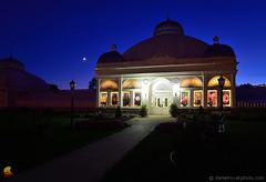 Botanical Gardens Blues - Buffalo, NY (DTD_5016) (masinka) Tags: outdoors blue hour sky crescent moon illuminated lit cityscape urban photography path buffalo ny newyork buffalony buffalove 716 etbtsy
