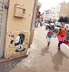 Paris (kirstiecat) Tags: paris france europe fredlechevalier streetart street canon shadows people strangers son mother pregnant holdinghands