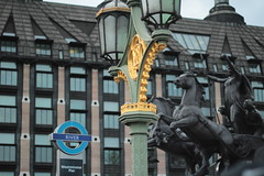 Busy streets, busy skies (Joybot) Tags: roundel london uk unitedkingdom embankment statue riverbus river transportforlondon londontransport tfl queen chariot british briton boadicea boudicca light westminsterbridge westminsterpier