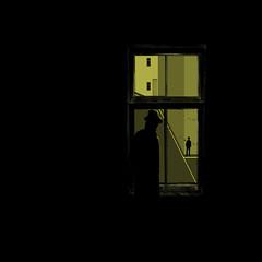 Night watch. (yamstar1) Tags: noir pulpfiction graphic night window