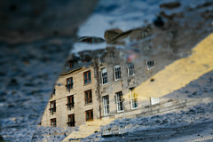 Do You Remember the First Time? (11) (Mrs.Black&White) Tags: edinburgh reflection puddle water rain newtown yellowline parking