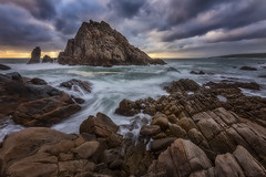 Natural Sculpture (Crouchy69) Tags: sunset dusk landscape seascape ocean sea water coast rocks clouds sky waves motion flow sugarloaf rock dunsborough western australia
