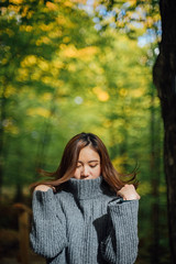 After summer before winter (TIA ZHANG) Tags: summer fall winter yellow red green maple roundtrip trail wood wild sky chill love mood girls back smile sunshine colorful travel trip adventure blue mountains