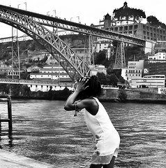 Don't Do It ! (Neil. Moralee) Tags: scream woman street girl lady porto bridge jump jumper suicide black white bw mono monochrome neil moralee blackandwhite lumix lx7 panasonic river water duro portugal african dancer candid douro hair dreadlock holiday tragic fall scare fear fright cry