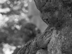 Tomb figurine (schauplatz) Tags: deutschland stuttgart waldfriedhof blackandwhite blackwhite schwarzweis schwarzweiss friedhof cemetery figurine skulptur plastik engel angel head kopf