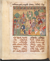 Syriac Lectionary Iraq (c. 1216) Tempera, Ink, and gold on paper; 44.5  35 cm. Men and women, young and old, people of various hair and skin colors gather at Jerusalems gates in anticipation of Jesuss arrival on a donkey. The architecture itself, with (medievalpoc) Tags: medieval art medievalpoc history jerusalem illuminated manuscript early global culture intercultural interactions 1200s iraq diversity