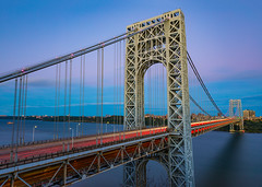George Washington Bridge (Amar Raavi) Tags: georgewashingtonbridge gwb fortlee newjersey newyorkcity nyc newyork nj bridge longexposure lighttrails traffic traffictrails sunset dusk suspensionbridge portauthorityofnewyorkandnewjersey steelbridge scenic outdoors