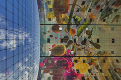 Modern Contrast (Claudio Cantonetti) Tags: 2016 d7000 nikon cantonetti claudiocantonetti holland spring thenetherland travel rotterdam market contrast modern architecture sky vegetables building inner ceiling clouds blue lines pattern cityscape top